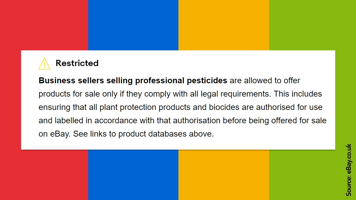 Pesticides and poisons policy at ebay