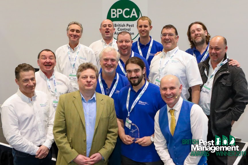 The Cleankilll team with Henry Mott, a member of the BPMA's judging panel (front row second left, green jacket) and event host, TV wildlife presenter Mike Dilger (front row, right).