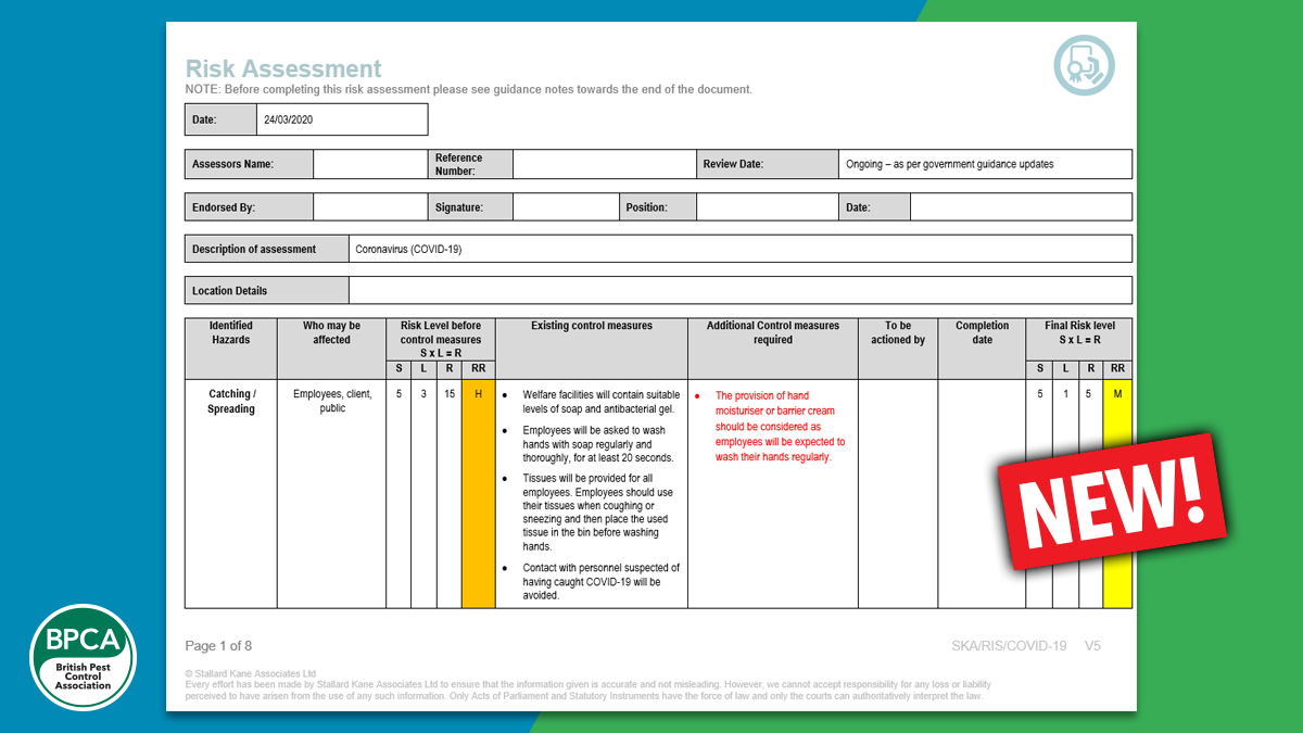 Risk assessment template covid 19 now available