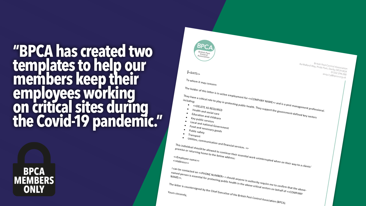 BPCA letter templates for working during Covid 19 pandemic