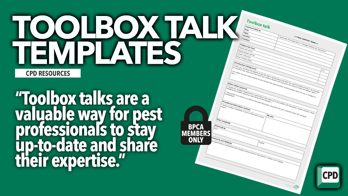 Toolbox talk teplates free for BPCA members