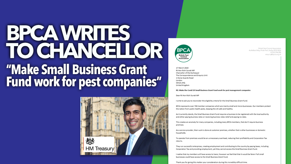 BPCA writes to chancellor asking for COvid fund to be fair for pest companies