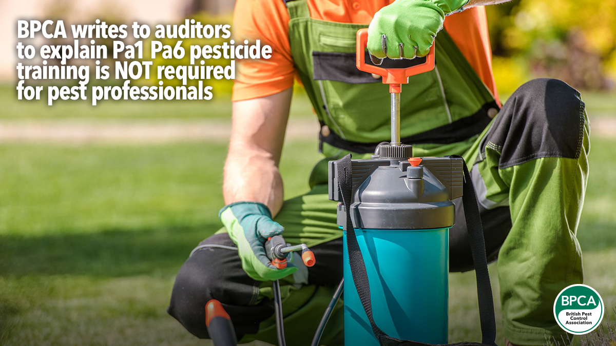 BPCA writes to auditors to say Pa1 Pa6 pesticide training not required for auditors