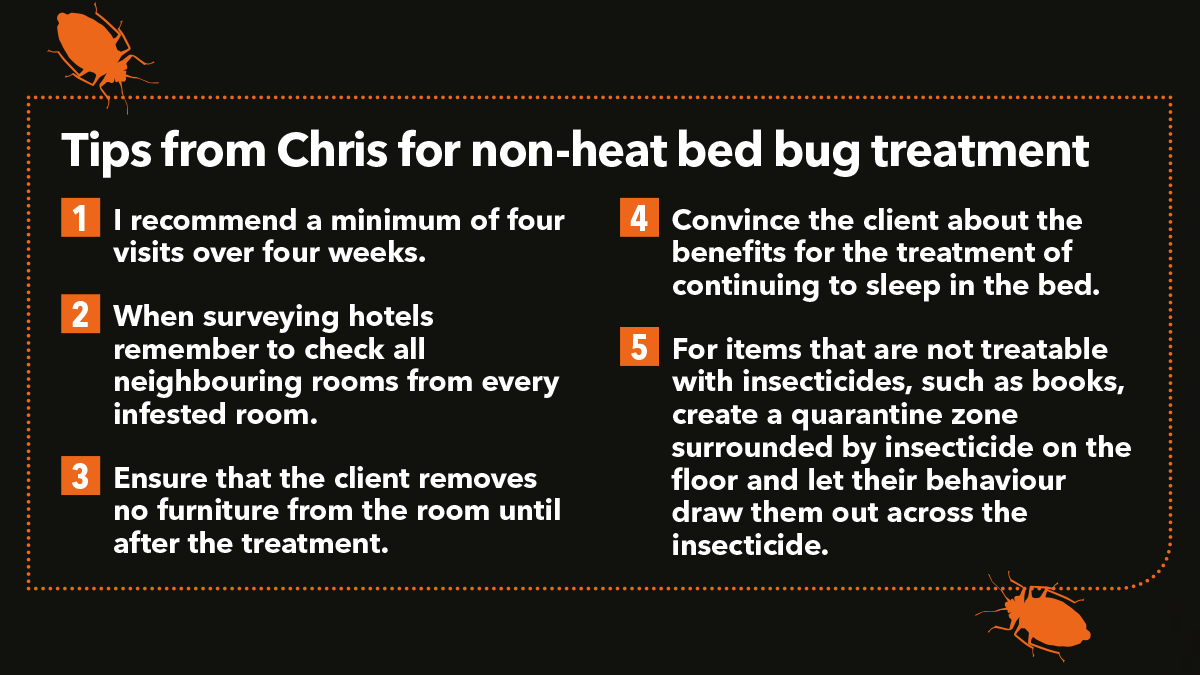 Tips from Chris for non-heat bed bug treatment