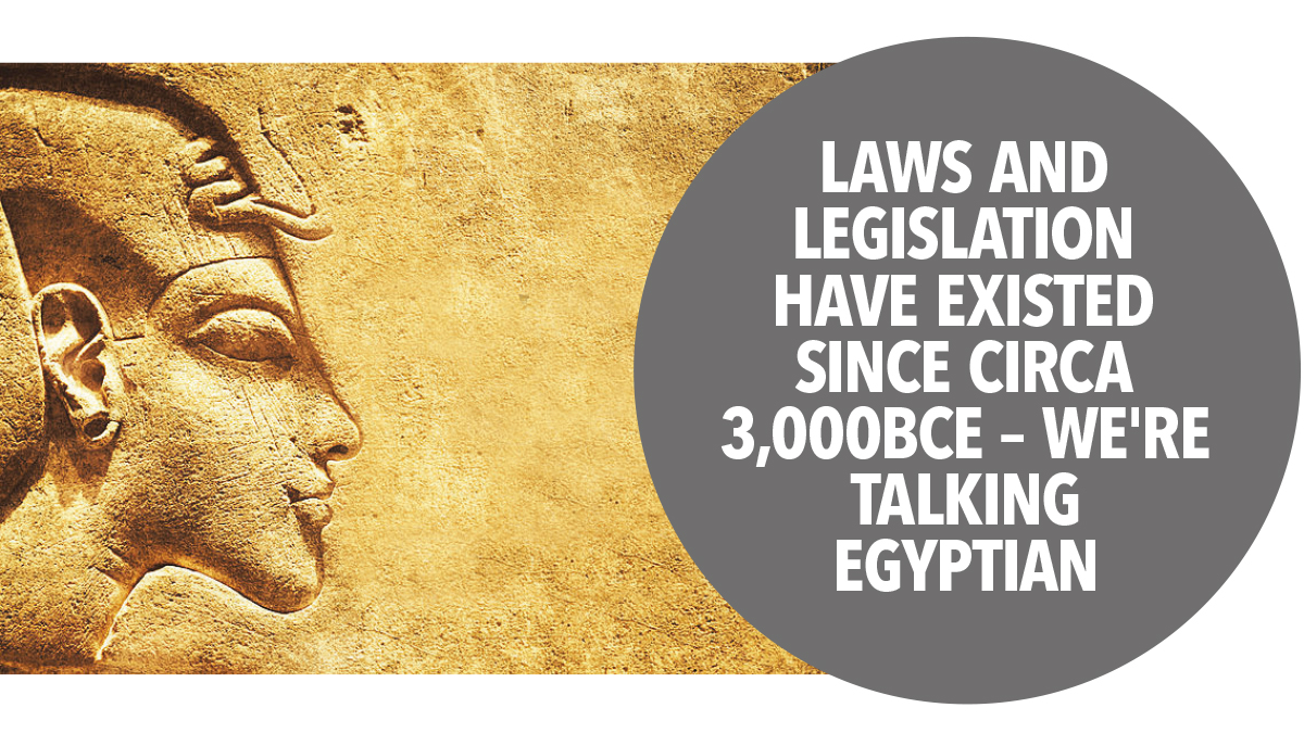Laws and legislation have existed since circa 3000BCE