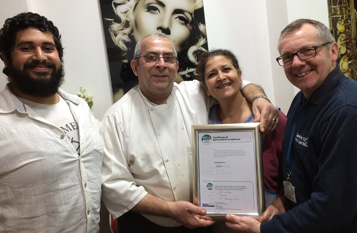 Alistair's Café in Crystal Palace, London with their Certificate of Pest Control Compliance given to them by BPCA member Beaver Pest Control