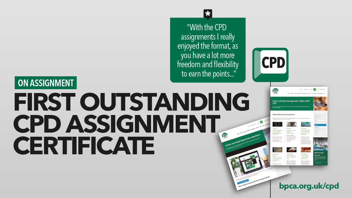 first outstanding  CPD assignment BPCA Registered