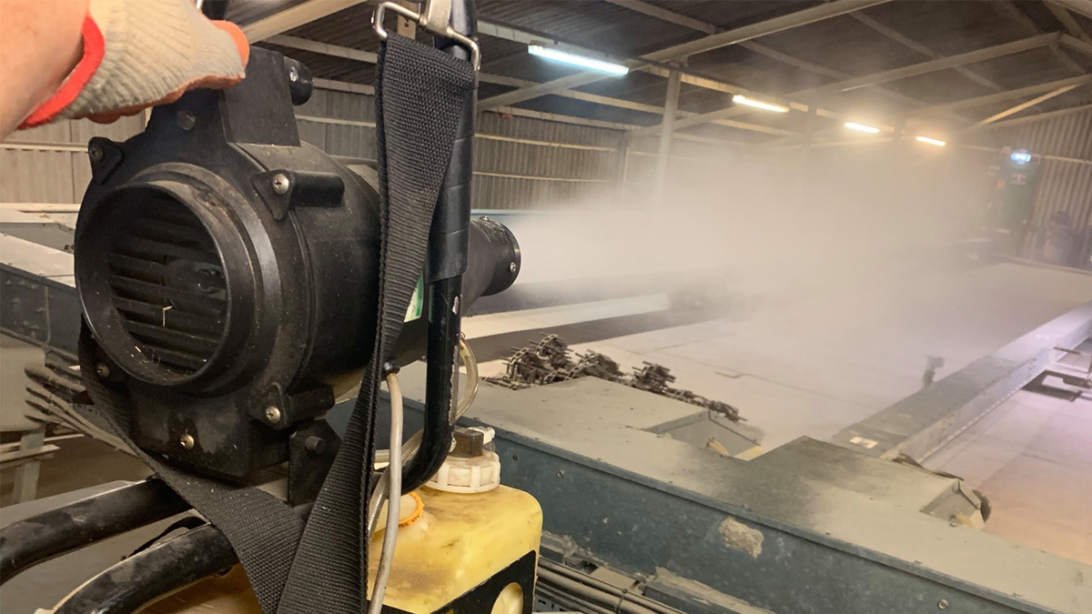 BPCA member Dealey using a ULV cold fogger in a food factory
